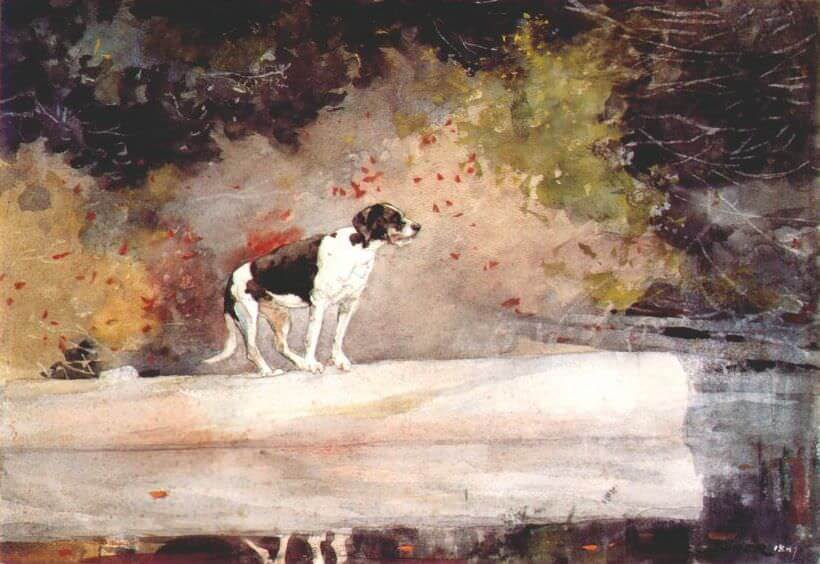 Dog on a Log - by Winslow Homer