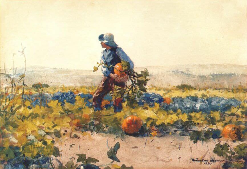 For to be a Farmers Boy - by Winslow Homer