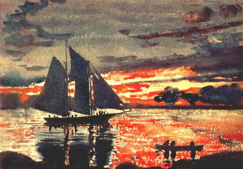 Sunset Fires - by Winslow Homer