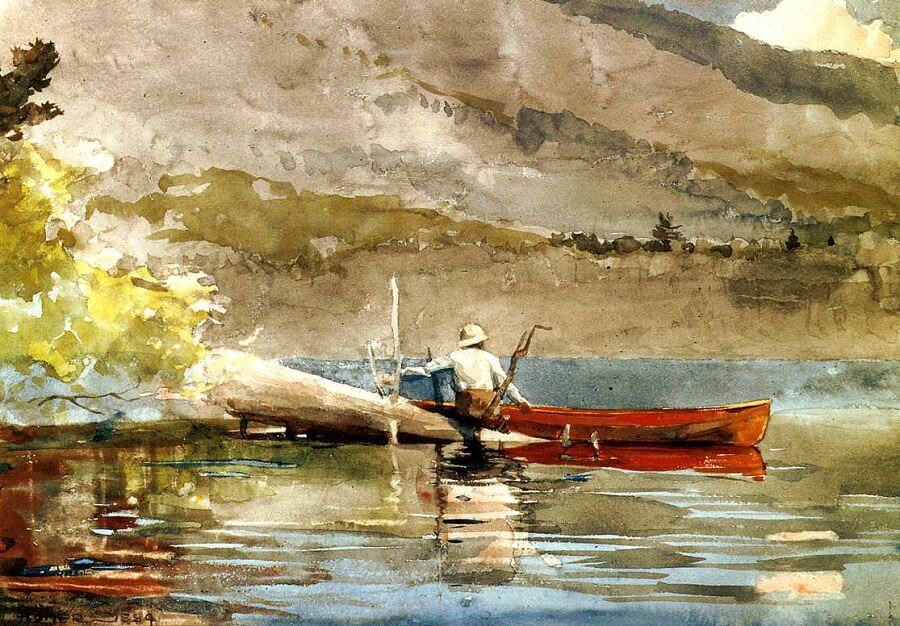 The Red Canoe - by Winslow Homer