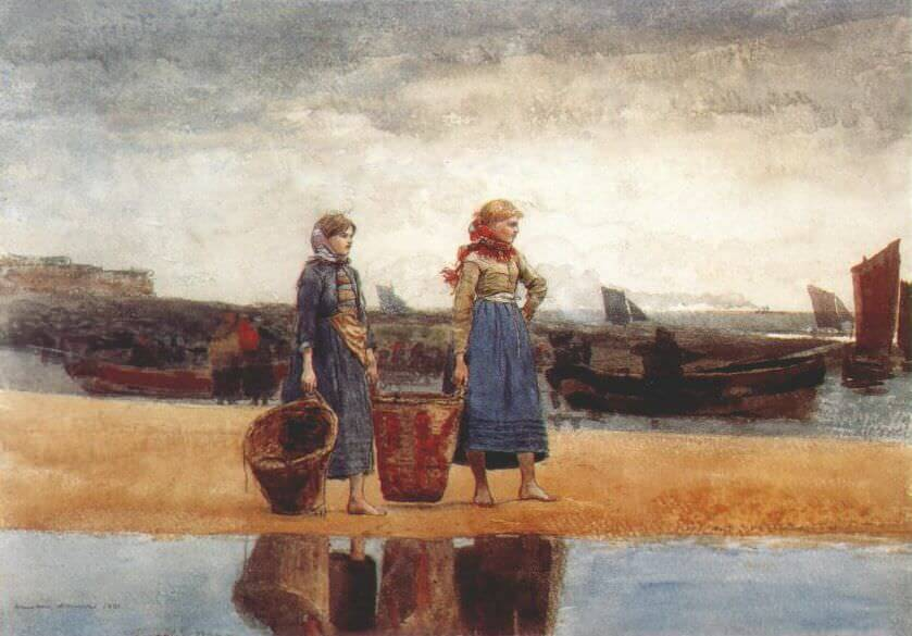Two Girls on the Beach Tynemouth - by Winslow Homer